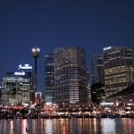 Vista nocturna del Darling Harbour de Sidney
